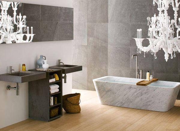 Modern Double Sink Vanity, Chocolate