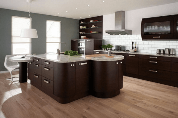 Dark Wood Modern Kitchen Cabinets With Grey Granite Countertops