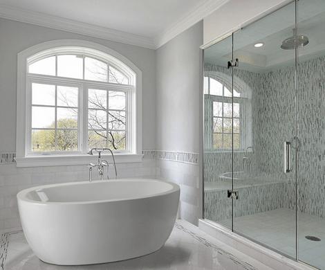 A freestanding bathtub, white