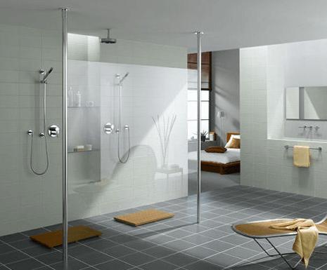 Large walk in shower, white and grey modern bathroom design