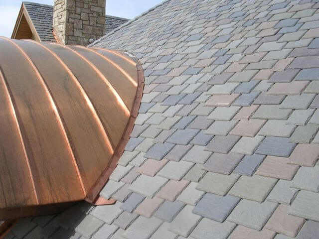 Synthetic Slate and Copper Roof