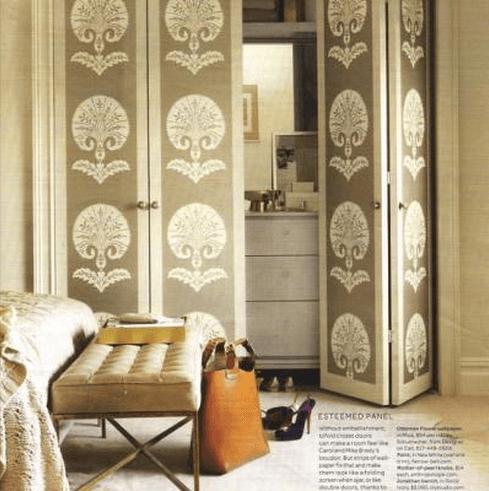 Wallpaper on closet