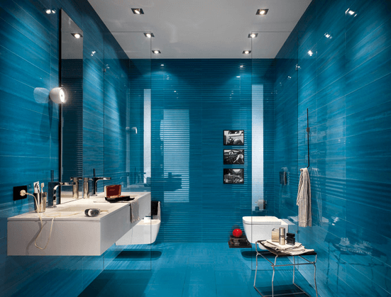 Bathroom Design: Ocean Blue Floor To Ceiling Ceramic Tile