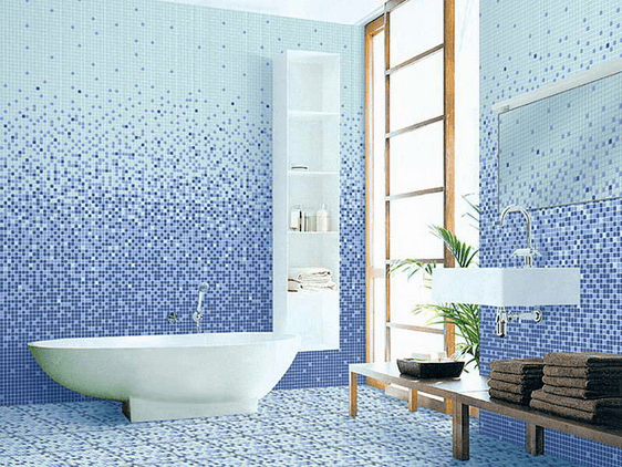 Bathroom Design: Blue Mosaic Tile