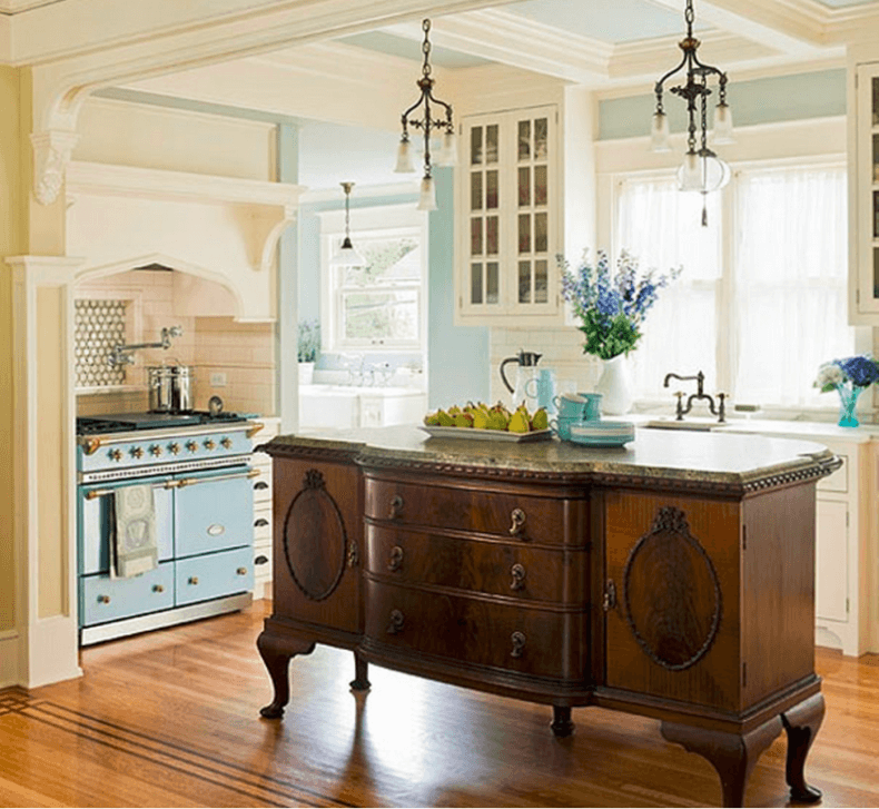 Antique Wood And Marble Kitchen Island