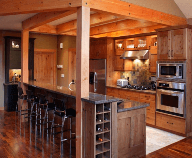 Antique oak flooring in a traditional kitchen