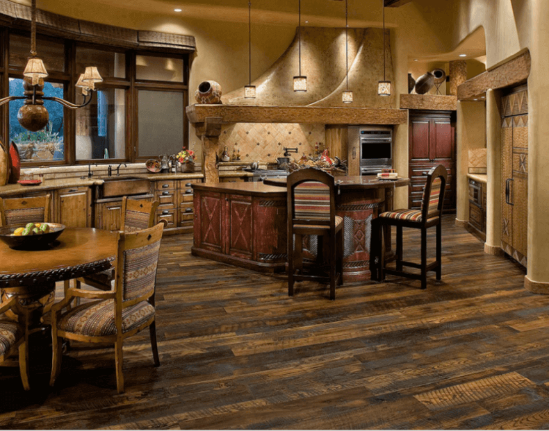 7 beautiful kitchens with antique wood flooring pictures for Wood floors in kitchen