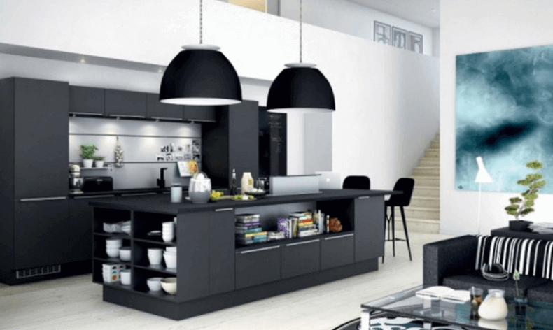 black modern kitchen island with storage