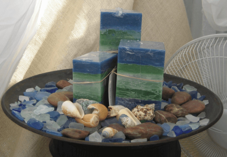 Blue and Green Scented Candles