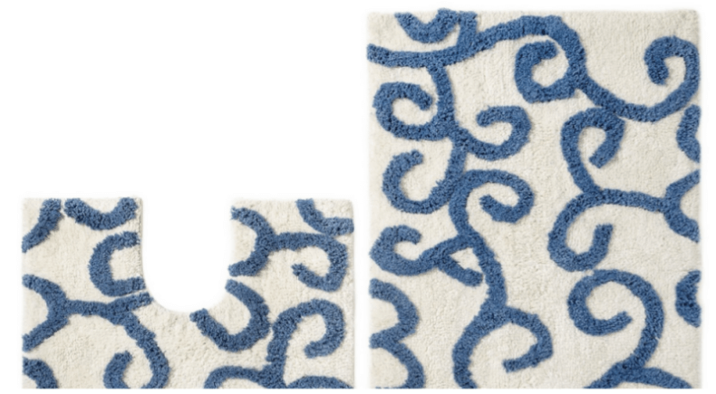 Blue And White Bath Rug Roselawnlutheran - Bath rug blue for bathroom decorating ideas