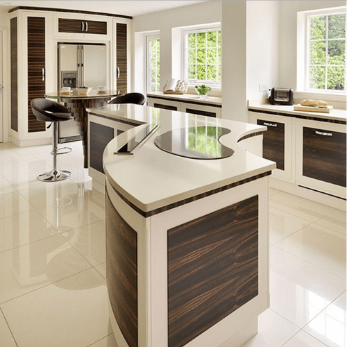 Amazing Curved White Modern Kitchen Island With Brown Panel Inserts Ideas