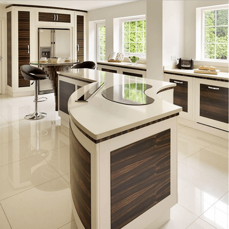 Curved White Modern Kitchen Island With Brown Wood Panel Inserts