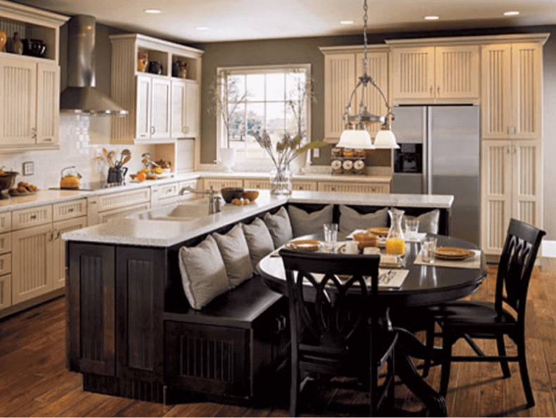 Dark Wood Kitchen Island with Booth Seating