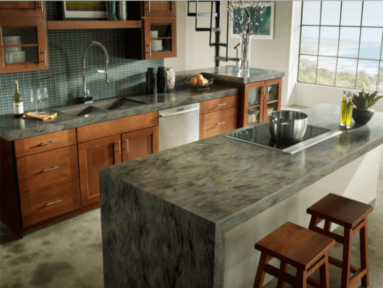 Green Marble Kitchen Island In A Natural Wood Color Modern Kitchen