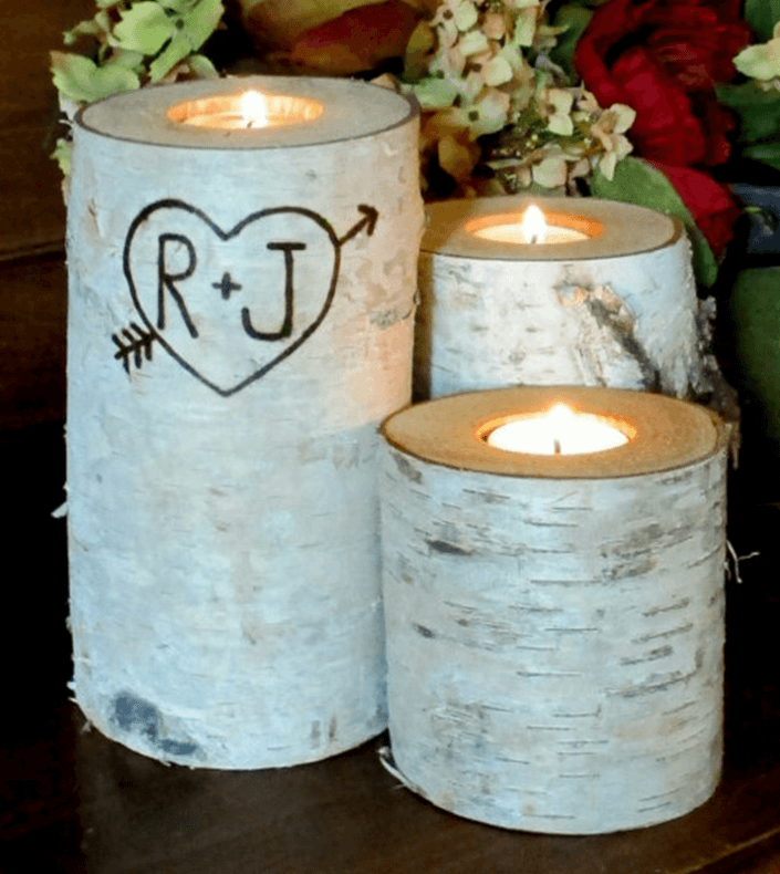 Handmade Birch Bark Candle Holders with personalized inscriptions