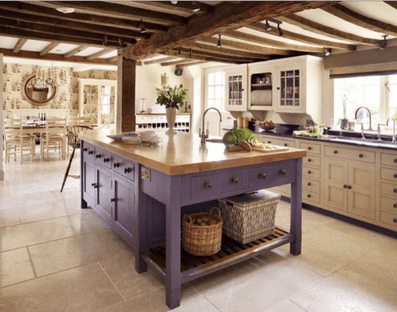 purple rustic kitchen island with butcher block countertop in a classic white kichen - Rustic Kitchen Island