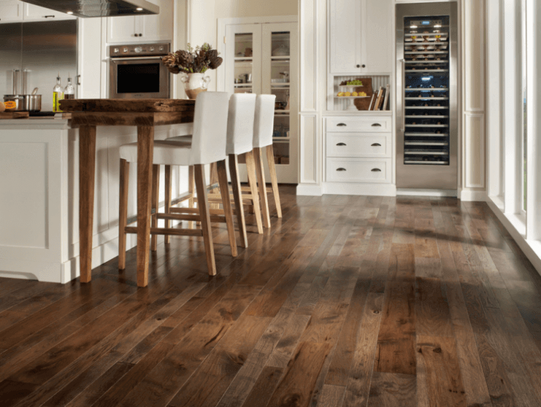 Reclaimed Hardwood Flooring In The Kitchen Hickory Wood