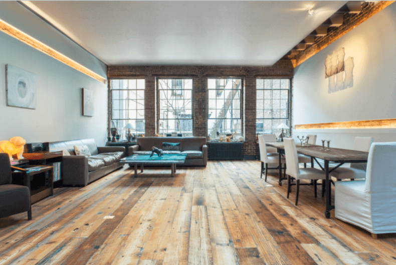 reclaimed wood flooring in a contemporary style living room - Hardwood Floors Living Room