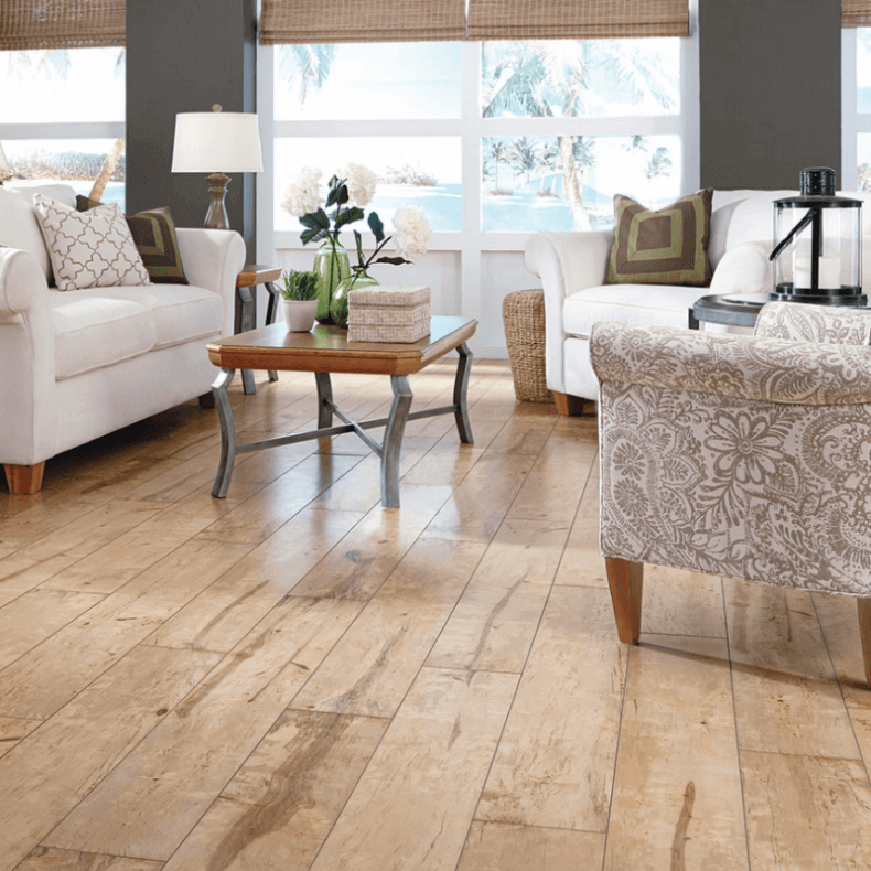 Reclaimed Wood Flooring In A Summer Cottage Living Room