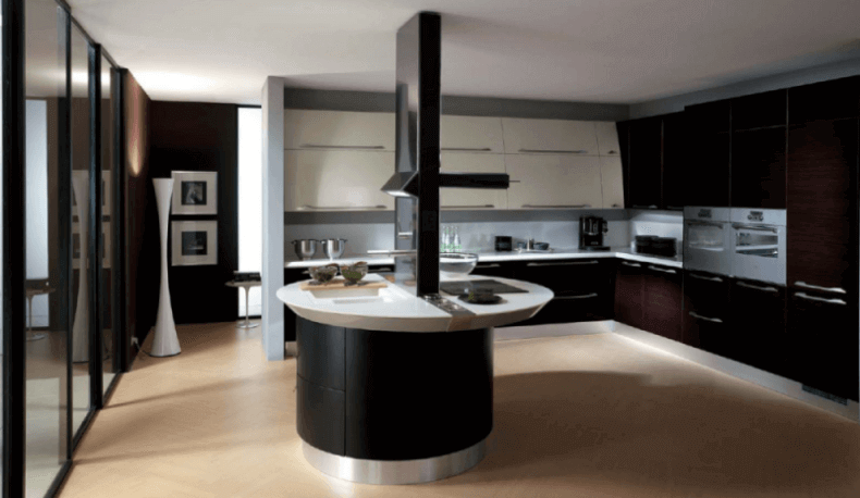 Modern Curved Kitchen Island modern kitchen island design image with white chairs. beautiful