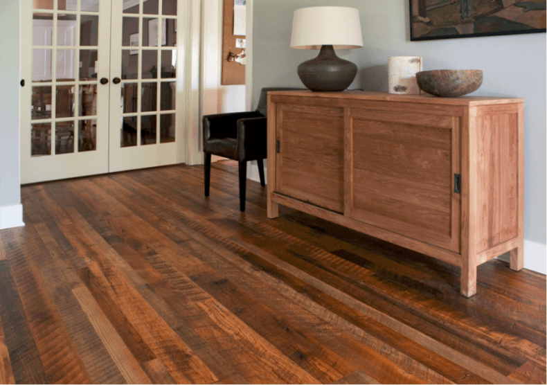 Weathered Antique Flooring In The Living Room Pine