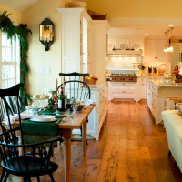 Wide Plank, reclaimed oak flooring in a French Country Style Kitchen