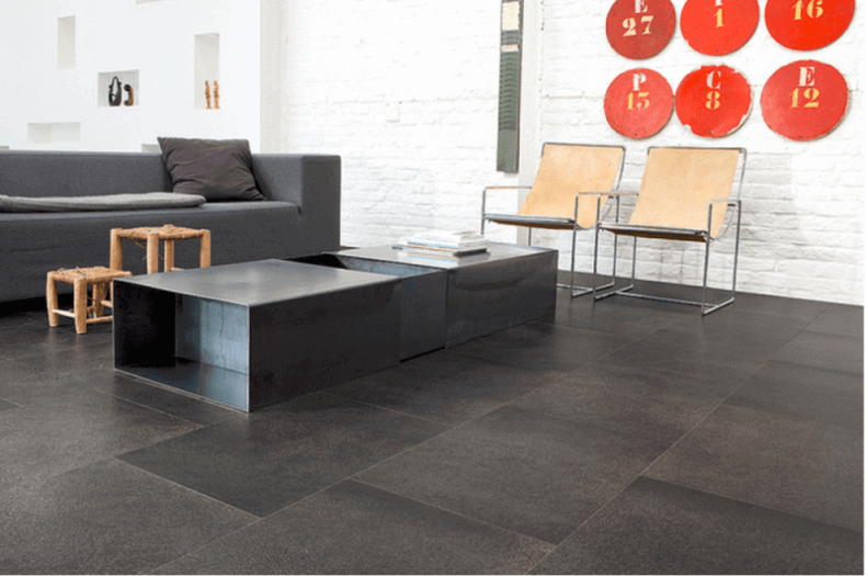 Cork floors 21 awesome design ideas for every room of Black tile flooring modern living room