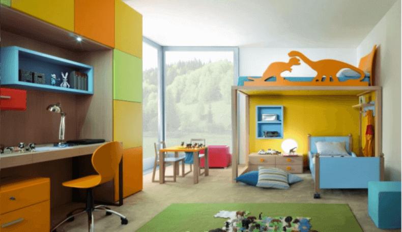 Cork flooring in a boy's bedroom