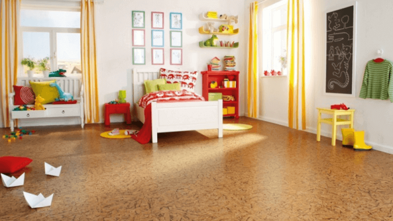 Cork flooring in a kids bedroom
