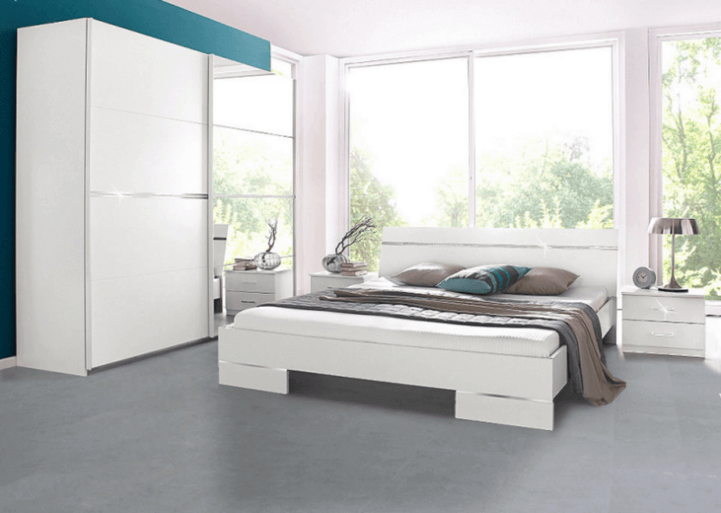 Grey Cork Flooring in a Modern White Bedroom