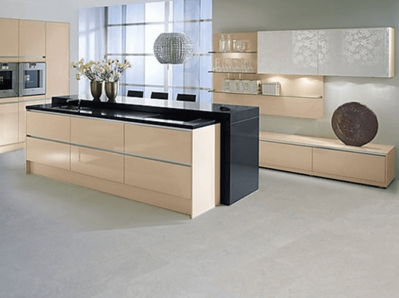 grey cork flooring in a modern kitchen