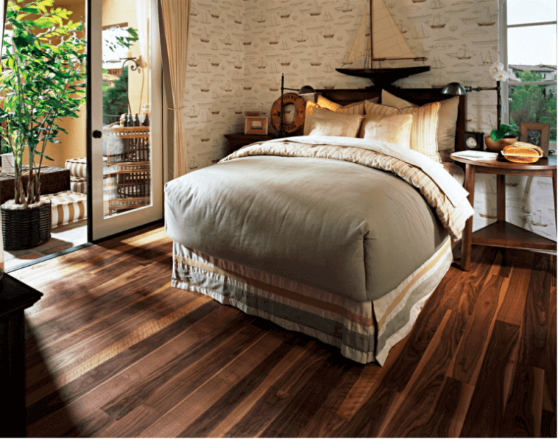 Plank Cork Flooring In A Cottage Style Bedroom
