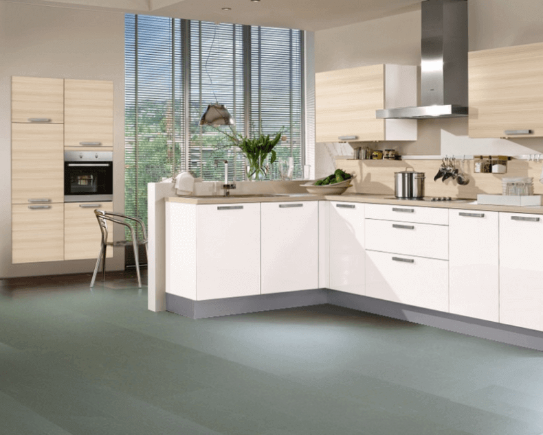Sage Green Cork Flooring In A Modern Kitchen