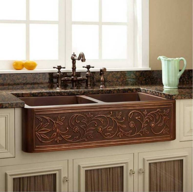 red farmhouse kitchen sink