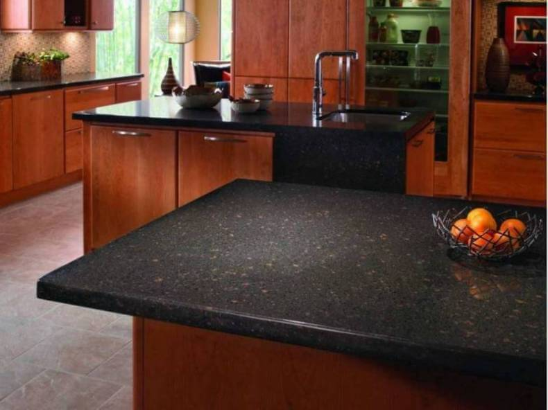 Dark Recycled Paper Kitchen Countertops In A Contemporary Style