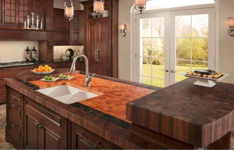 High End Butcher Block Kitchen Countertops In A Traditional Style