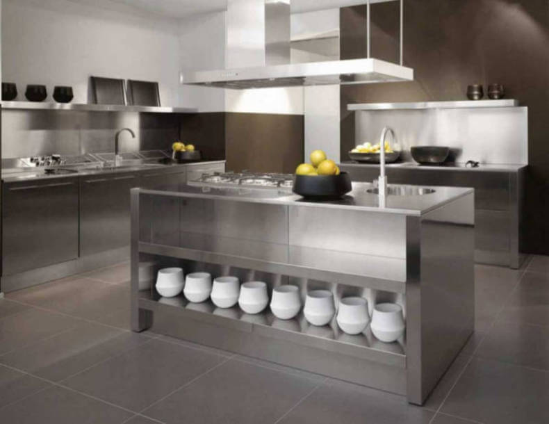 ultra modern kitchen island stainless steel countertops in an ultra modern kitchen