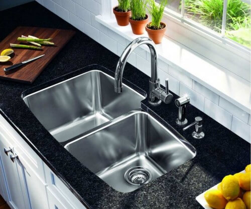 Undermount, Double bowl, Stainless Steel Kitchen Sink