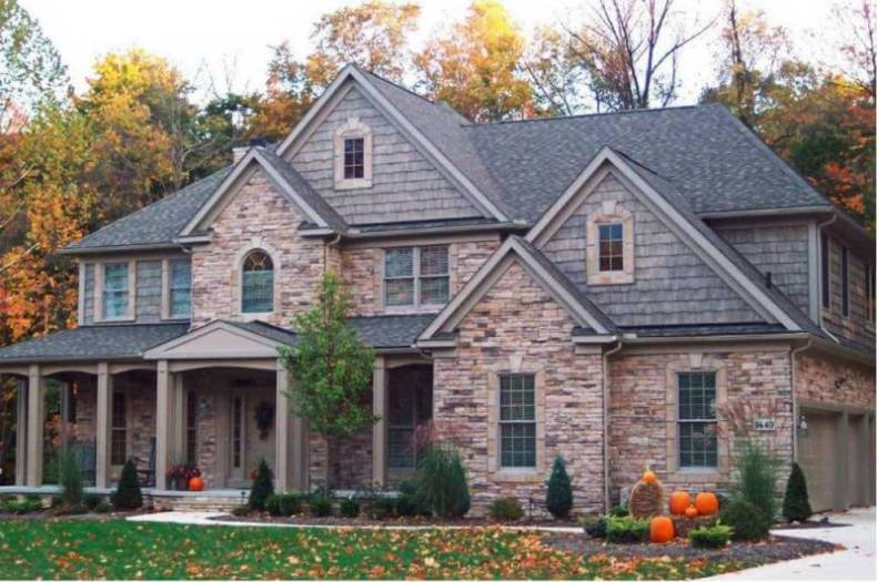 Home Exterior Siding picking blue exterior siding with a red brick home Stone Veneer Siding High End Elegance