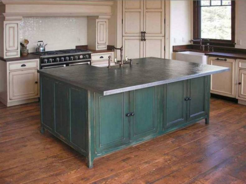 Countertop Zinc : Zinc Countertops in a Traditional French Country Style Kitchen