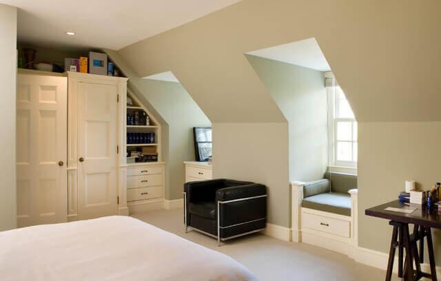 Bedroom in a shed dormer addition
