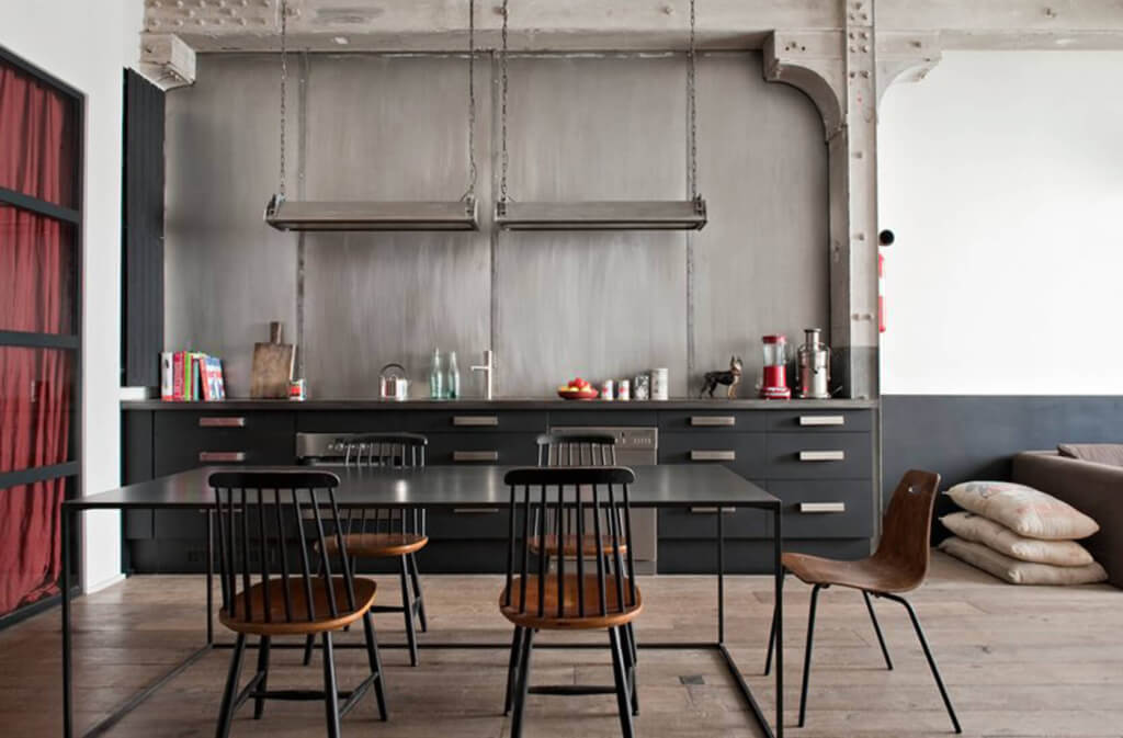 how to design an industrial kitchen in your home. Black Bedroom Furniture Sets. Home Design Ideas