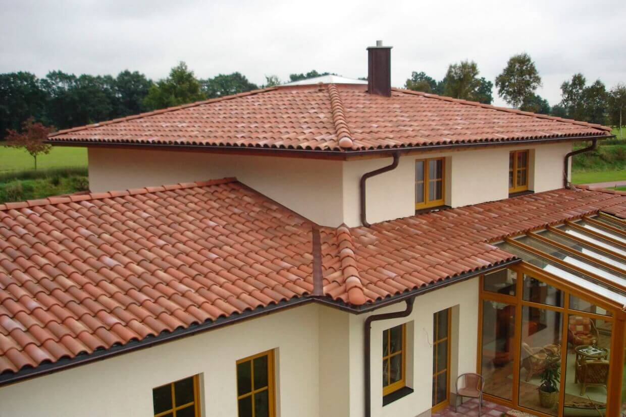 Clay Tile Roof On A Spanish Style Modern Home