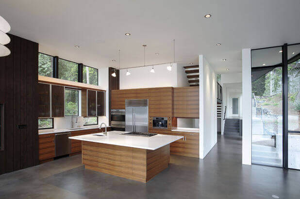 Concrete Tile Floor In A Modern Kitchen