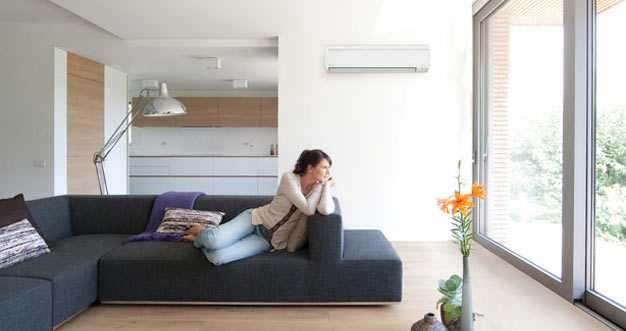 Contemporary home with ductless AC on the wall