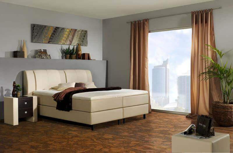 Cork Floor in a modern master bedroom