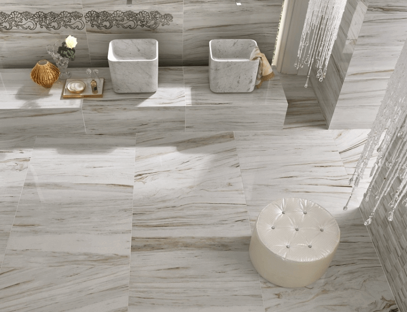 Designer Porcelain Floor Tile In A Luxury Bathroom