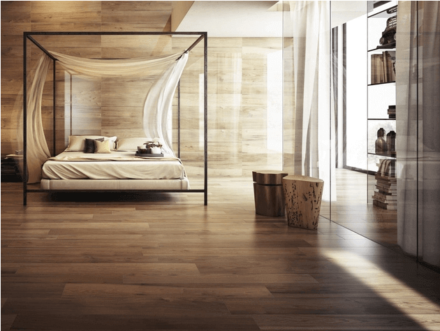 designer wood tile flooring in the bedroom