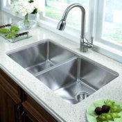 Double bowl undermount stainless steel kitchen sink