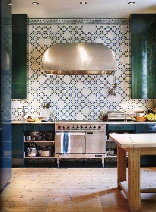 eclectic wall tile in a modern kitchen